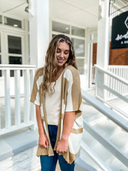Soft Color Block Cardigan