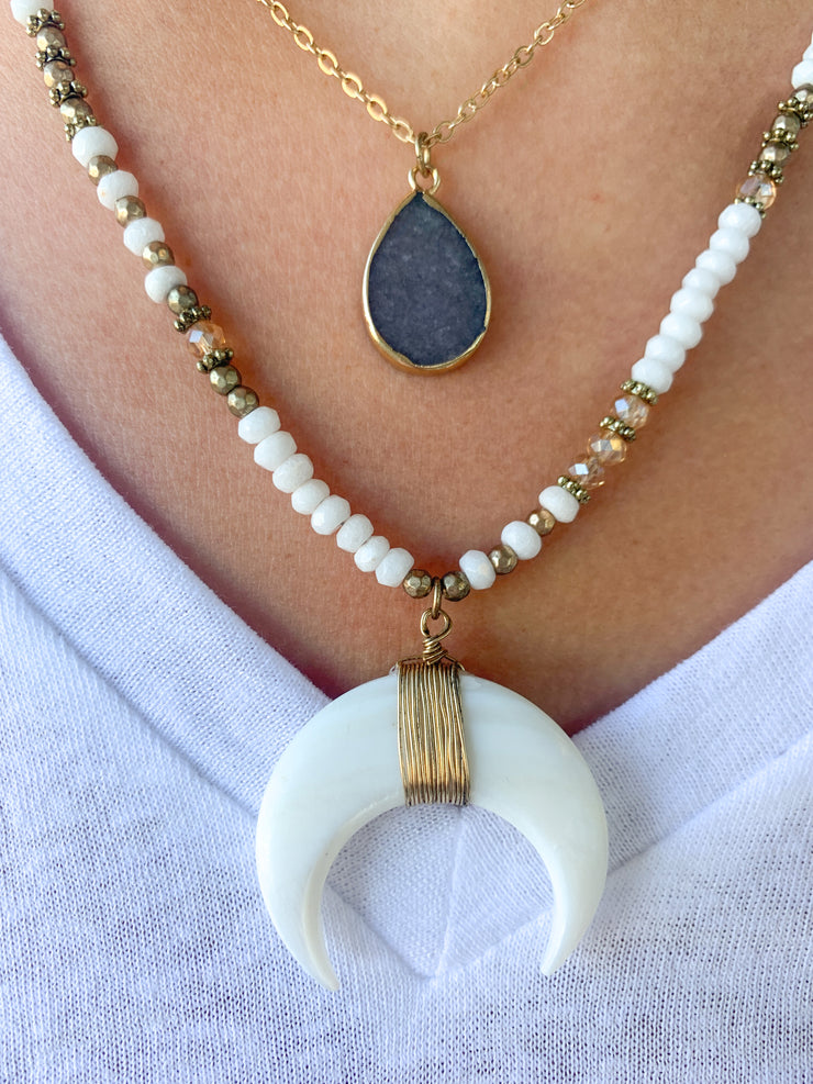 Camille Double Layer Beaded Crescent Moon Necklace with Teardrop