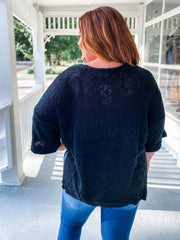 Half Sleeve Knit Sweater w/Front Pocket
