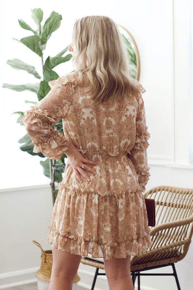 Paisley Long-Sleeve Tiered Dress