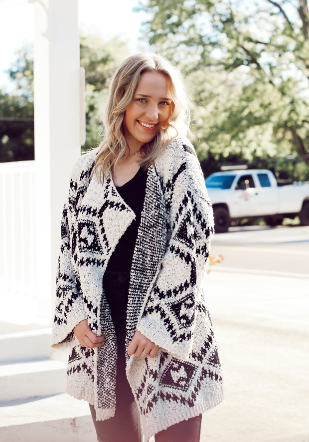 Black and White Aztec Popcorn Cardigan