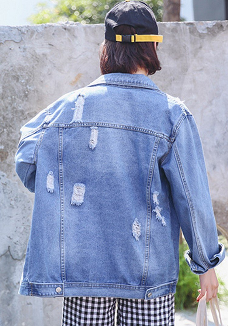 aesthetic beat up jean jacket
