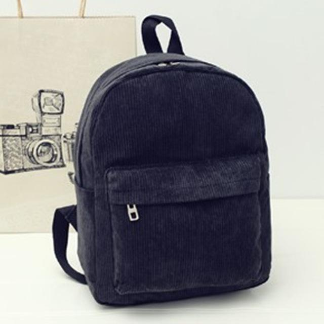 Black Corduroy Solid Aesthetic Backpack