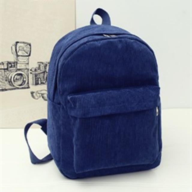 Blue Corduroy Solid Aesthetic Backpack