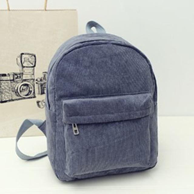 Grey Corduroy Solid Aesthetic Backpack