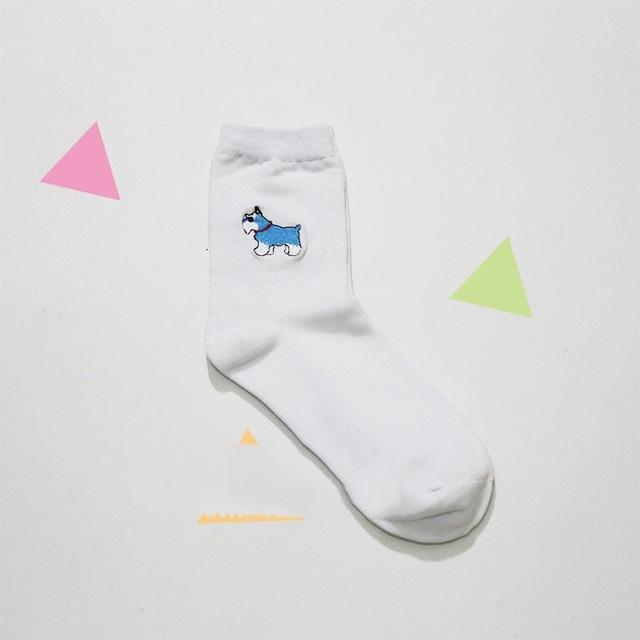 aesthetic Animal Embroidery Socks