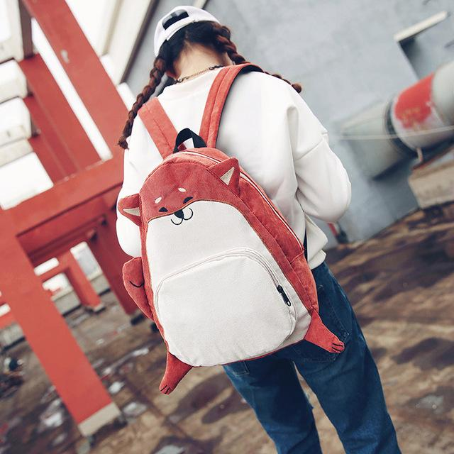 Red Aesthetic  Dog Fox Ear Backpack