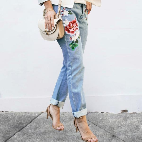 aesthetic flower embroidery jeans