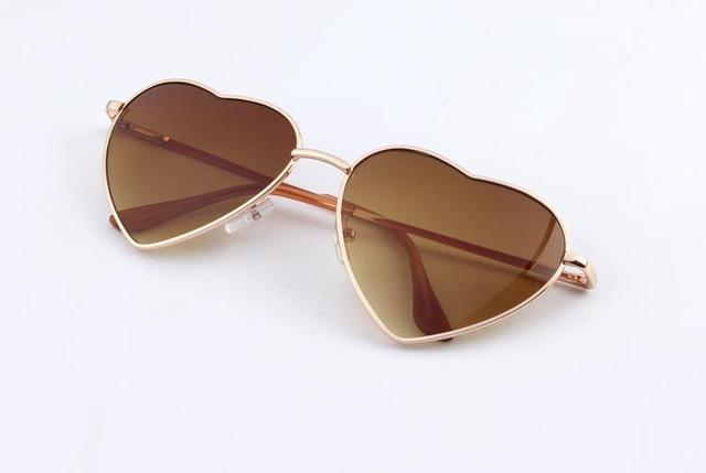 Brown Heart Style Aesthetic Sunglass