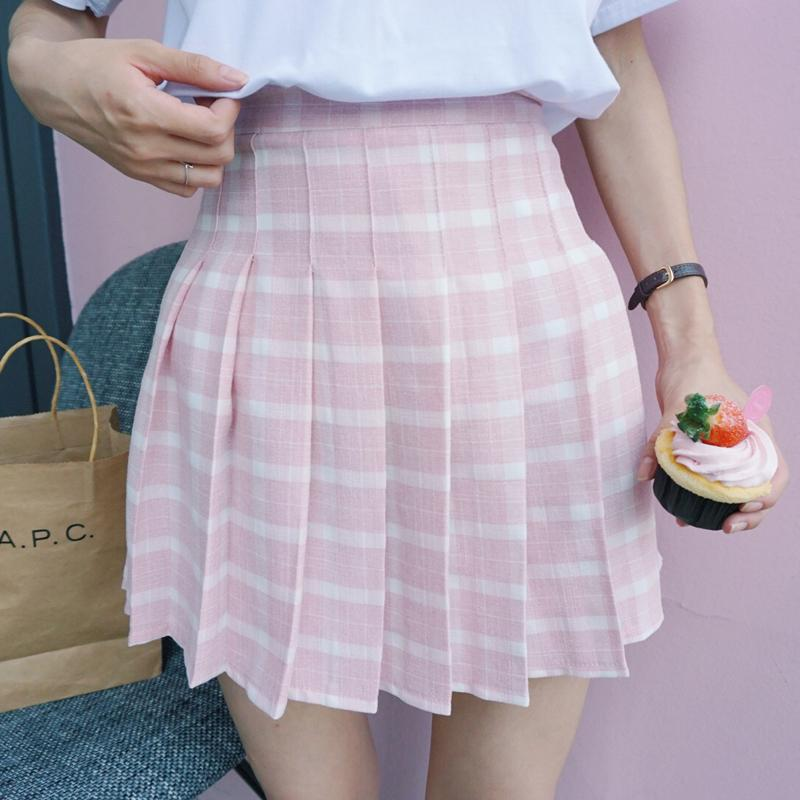 AESTHETIC JAPANESE STYLE PLAID HIGH WAIST SHORT FEMALE SKIRTS