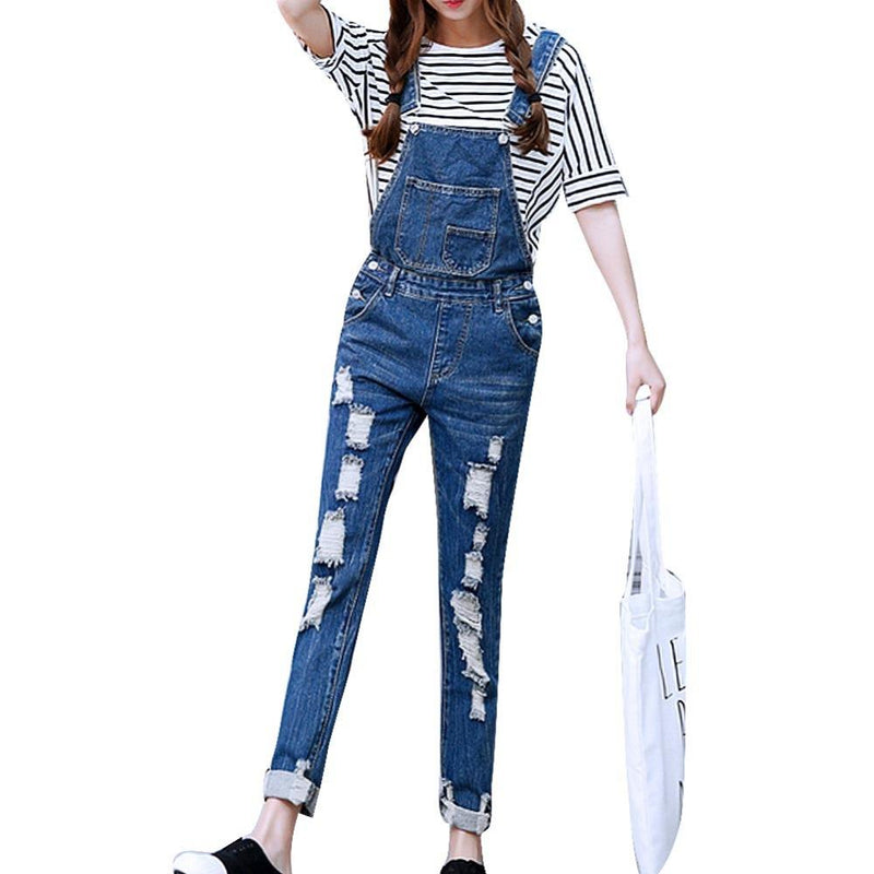 AESTHETIC JUMPSUIT OVERALLS RIPPED SKINNY JEANS