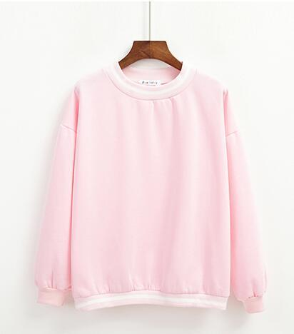 PINK KAWAII STRIPED FLEECE PULLOVER