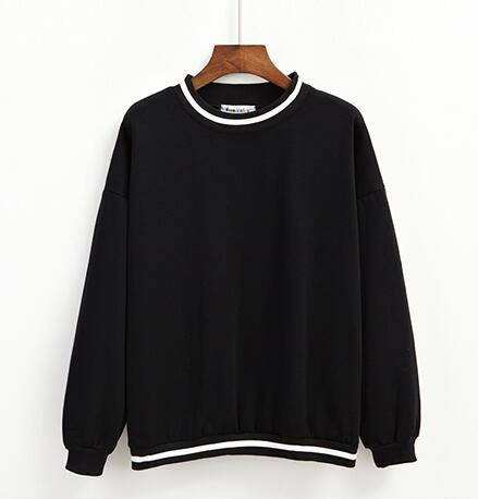 BLACK KAWAII STRIPED FLEECE PULLOVER