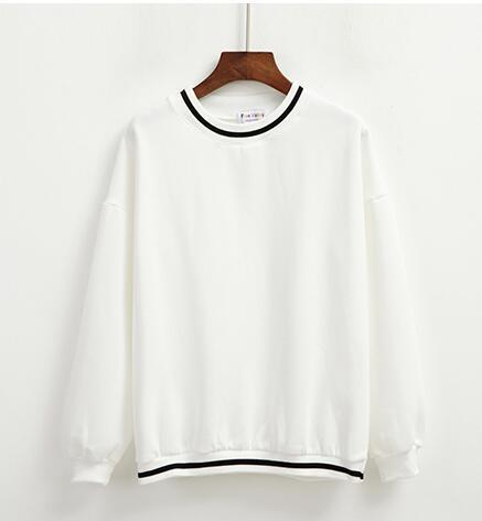 WHITE KAWAII STRIPED FLEECE PULLOVER