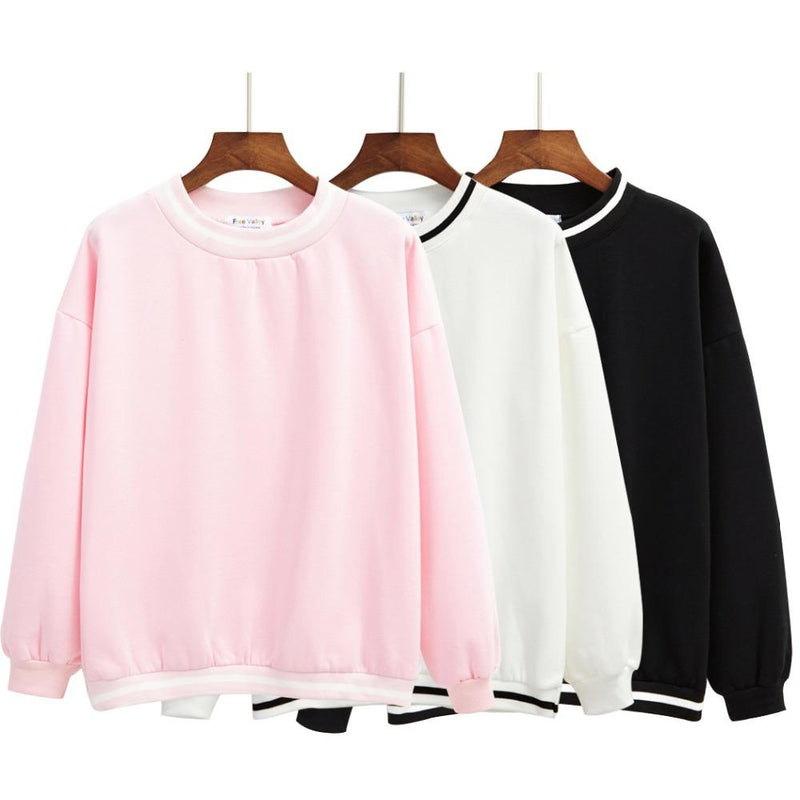 AESTHETIC KAWAII STRIPED FLEECE PULLOVER