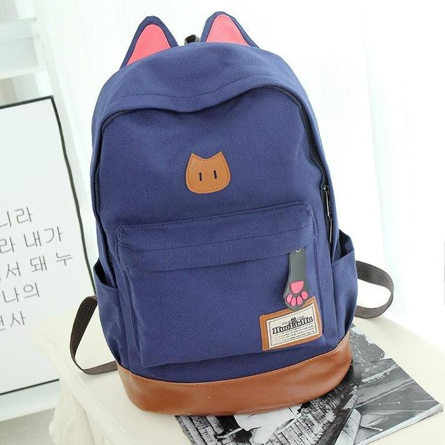 Blue Kitten Canvas Backpack