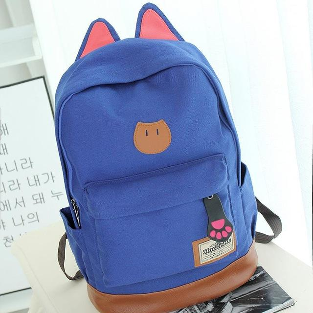 Kitten Blue Aesthetic Canvas Backpack