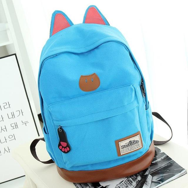 Kitten Canvas Backpack blue