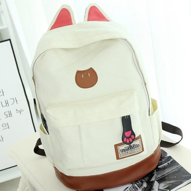 White Aesthetic Kitten Canvas Backpack