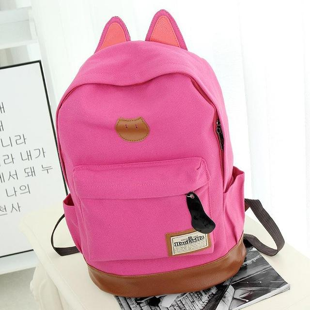 Pink Kitten Canvas Backpack