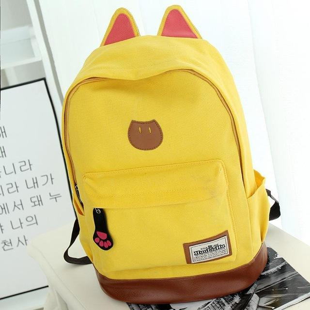 Yellow Kitten Canvas Backpack