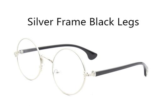 Black Large Round Retro Metal Frame Sun Glasses
