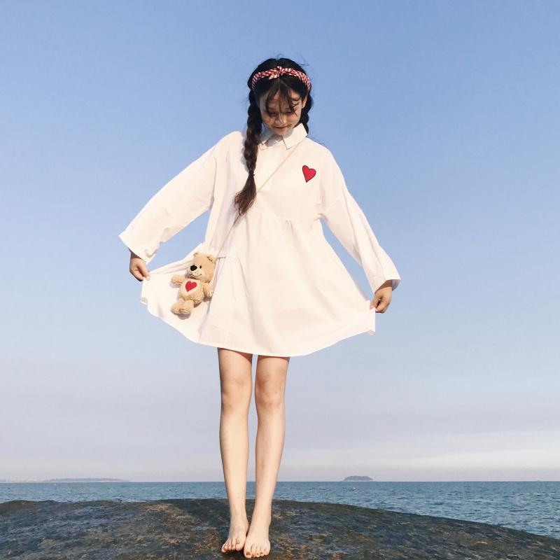 AESTHETIC LONG SLEEVED HEART EMBROIDERED DRESS