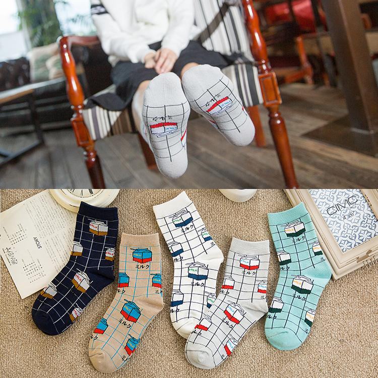 Milk Box Printed Vintage Casual Socks