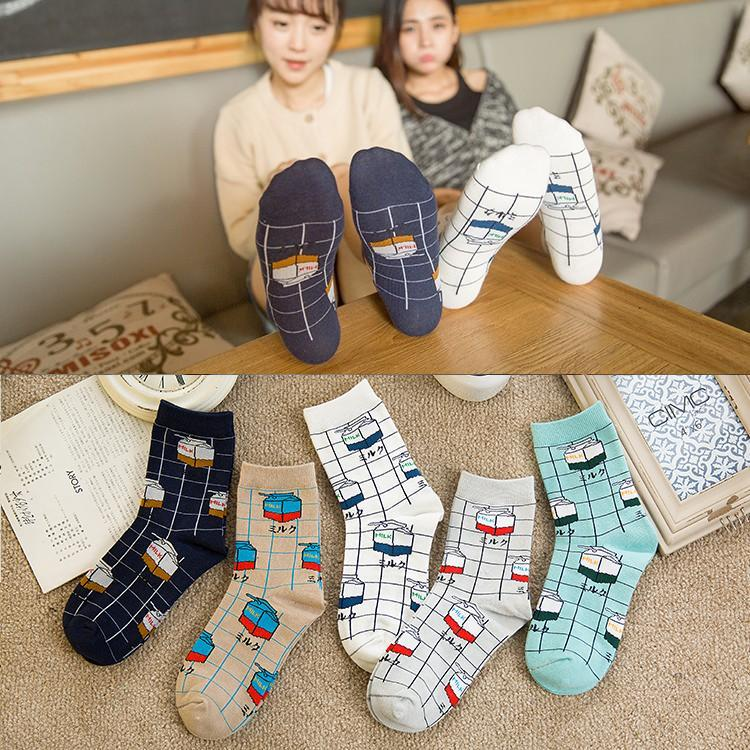 Aesthetic Milk Box Printed Vintage Casual Socks
