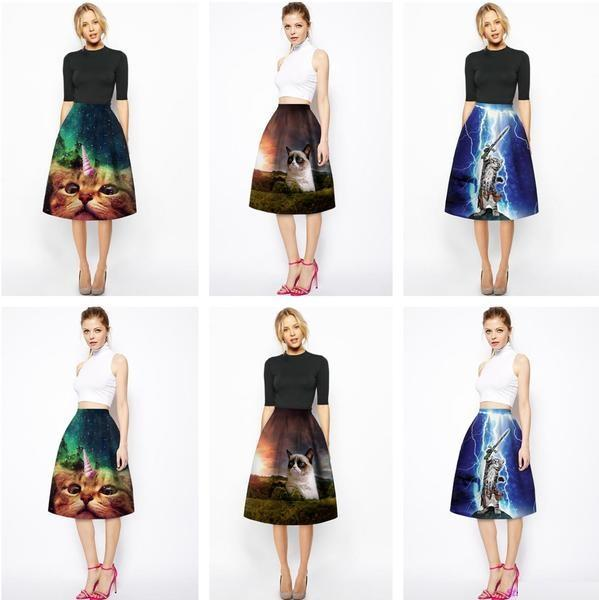 Aesthetic-PLEATED ART PRINT KNEE LENGTH SKIRTS