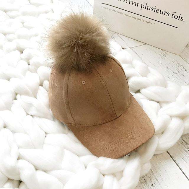Aesthetic-POMPOM SUEDE STYLISH CAP-Camel-