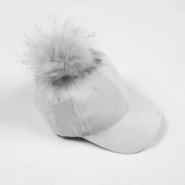 Aesthetic-POMPOM SUEDE STYLISH CAP-Gray-