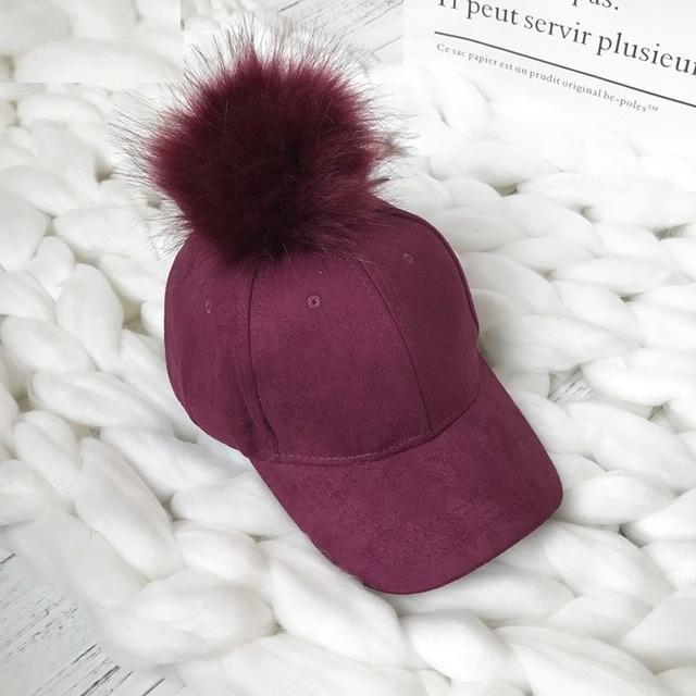 Aesthetic-POMPOM SUEDE STYLISH CAP-Wine Red-