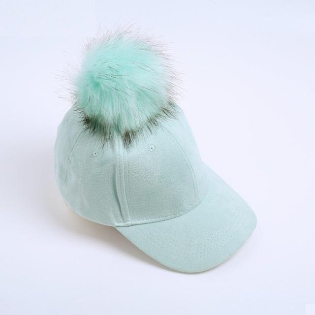 Aesthetic-POMPOM SUEDE STYLISH CAP-Mint Green-