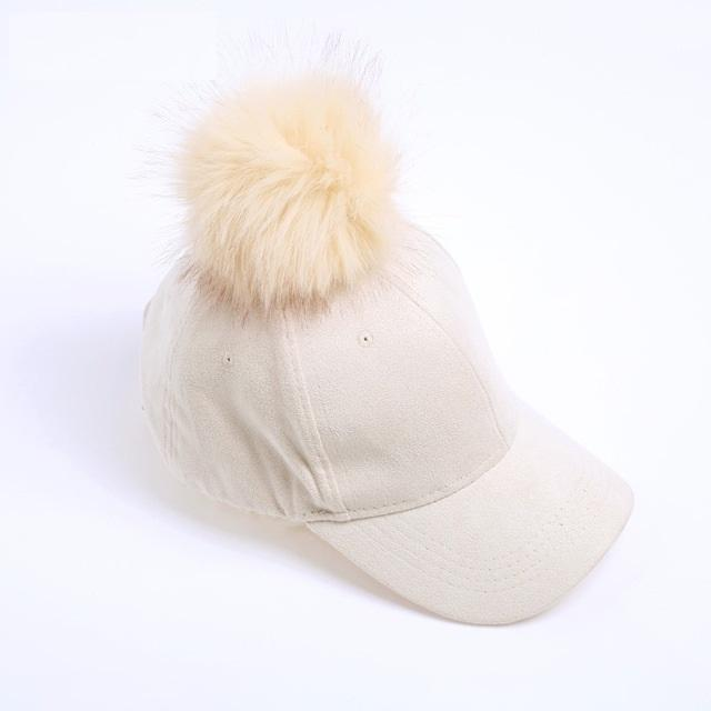 Aesthetic-POMPOM SUEDE STYLISH CAP-Beige-