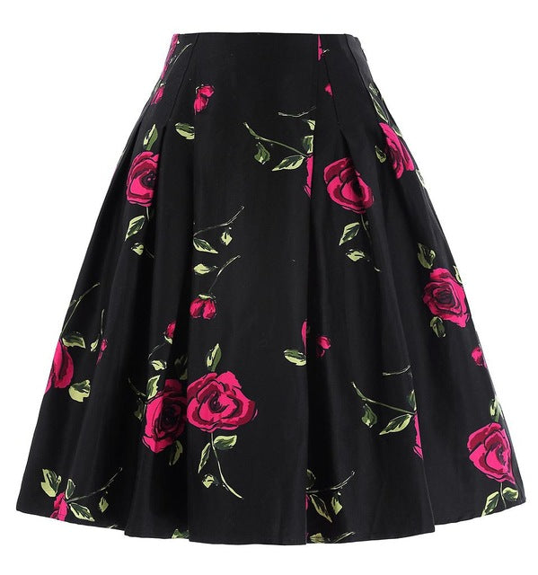 ROSE PRINT HARAJUKU PLEATED SKIRT