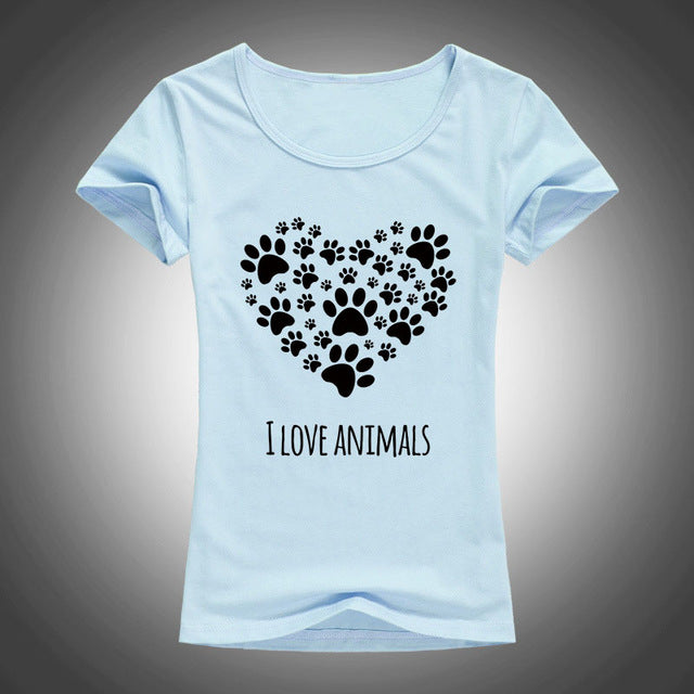 I LOVE ANIMALS PAW PRINT T-SHIRT