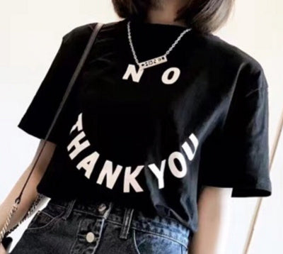NO THANK YOU SMILEY T-SHIRT