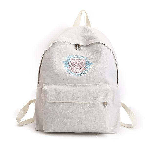 Rose Embroidery White Backpacks