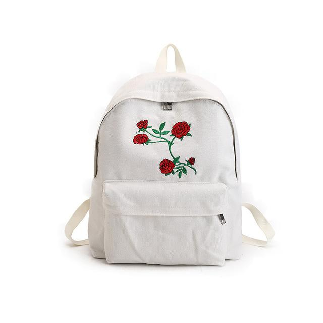 White Rose Embroidery Backpacks
