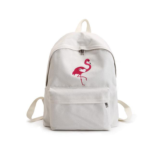 Swan Embroidery White Backpacks