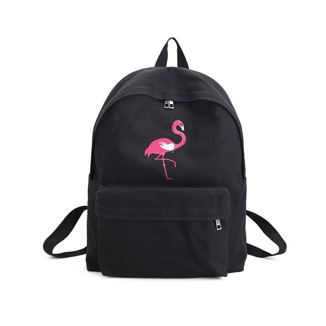 Rose Embroidery Black Backpacks