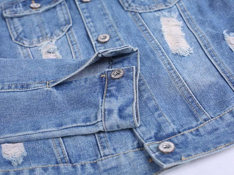 Aesthetic-SHORT STYLE DISTRESSED JEAN JACKET