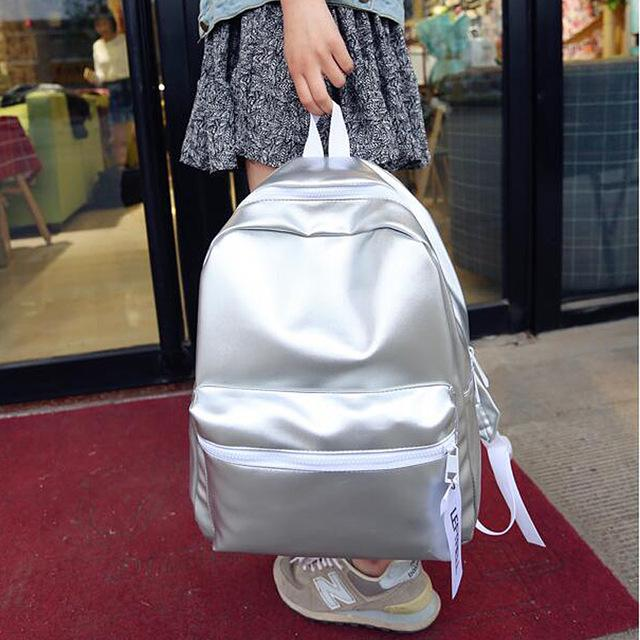 Glossy Grey Aesthetic Backpacks