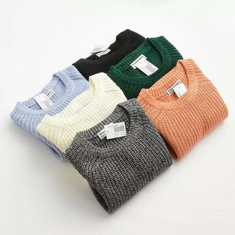 AESTHETIC SOLID COLOR CASUAL SWEATER