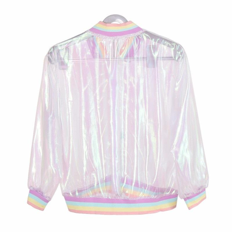 AESTHETIC TRANSLUCENT RAINBOW HOLOGRAM JACKET