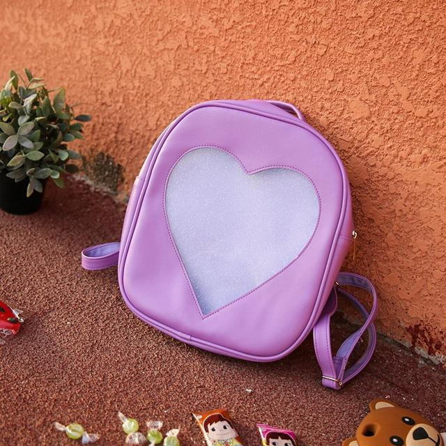 Pink Transparent Love Heart Shape Backpacks