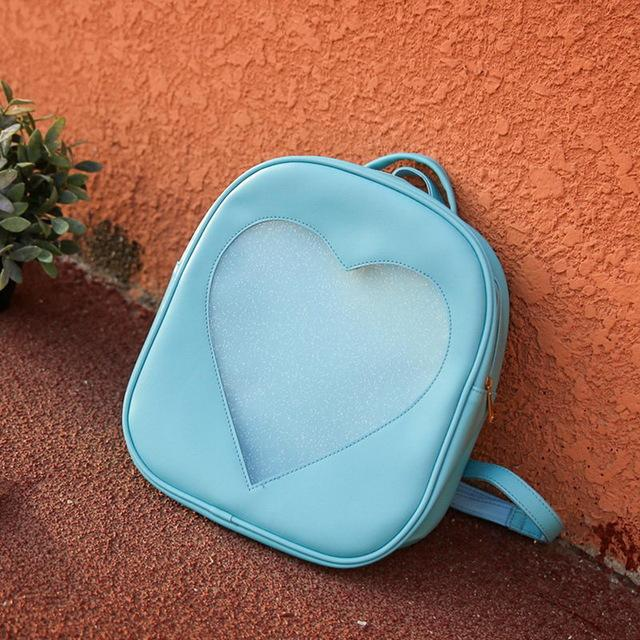 Blue Transparent Love Heart Aesthetic Backpacks