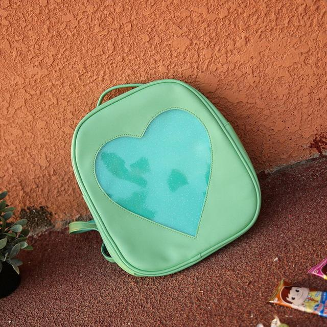 Aesthetic Green Transparent Love Heart Backpacks