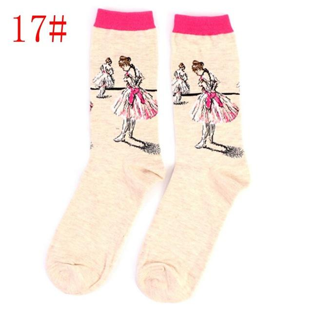 Vintage Modern Art Painting Socks